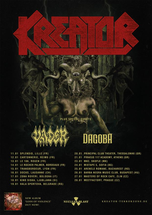 FOH Engineer and Tourmanager for KREATOR European Tour 2018